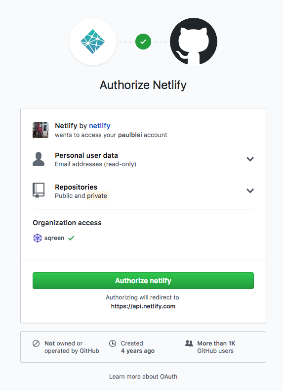 Link your Netlify account to Github